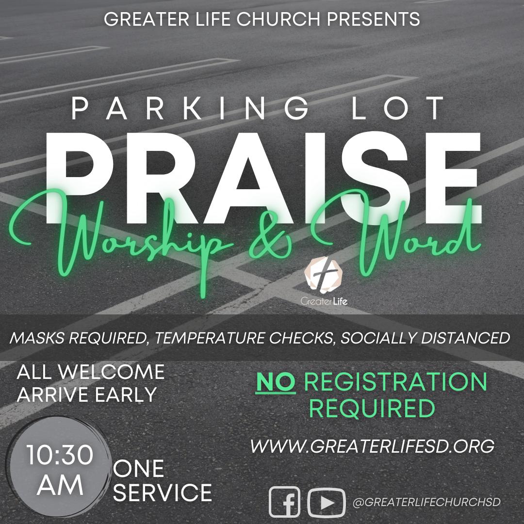 GLC NO REG Ongoing Parking Lot Praise, Worship & Word Graphic
